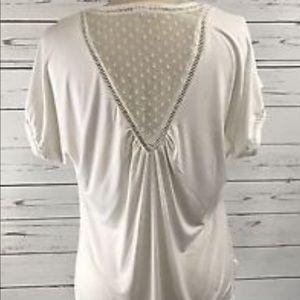 Anthropologie Meadow Rue Ivory V-neck Shirt L
